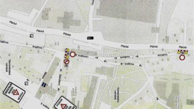 Mapa uzávěrky Vodkovy ulice